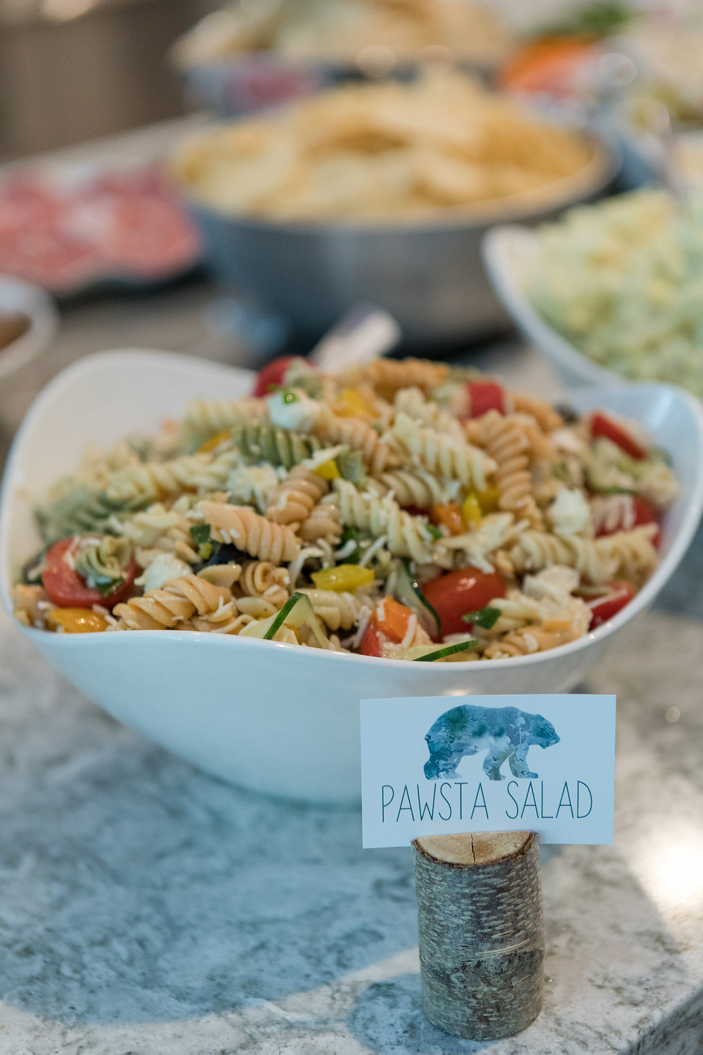 Pawsta Pasta Salad Party Food - Wild One Smash Cake Photo Session - One Wild Year - Boy's 1st Birthday Party - Ideas, inspiration, decor, party food and menu, kids activities and games, cake smash photo session, bear theme, wild one wilderness tree teepee outdoor theme, decorations, cake, cookies, and more!