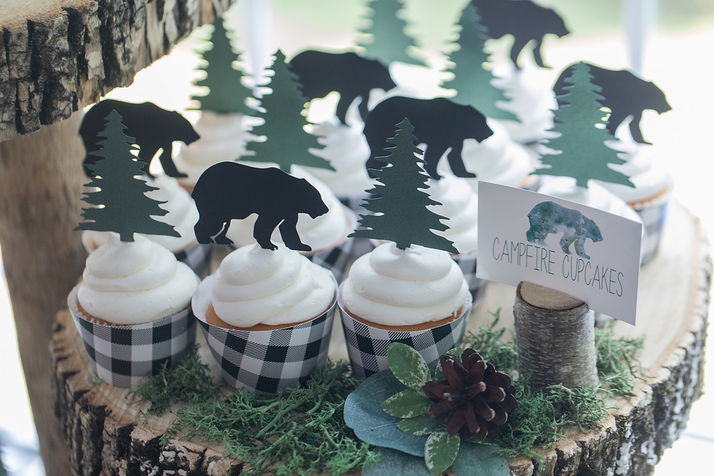 Bear Tree Campfire Cupcakes Party Food - Wild One Smash Cake Photo Session - One Wild Year - Boy's 1st Birthday Party - Ideas, inspiration, decor, party food and menu, kids activities and games, cake smash photo session, bear theme, wild one wilderness tree teepee outdoor theme, decorations, cake, cookies, and more!