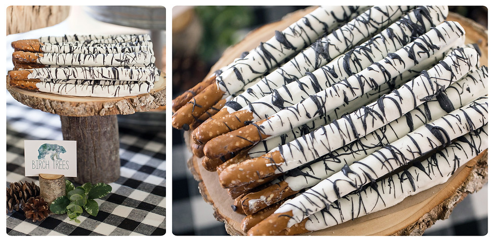 Birch Tree Pretzel Rods - One Wild Year - Boy's 1st Birthday Party - Ideas, inspiration, decor, party food and menu, kids activities and games, cake smash photo session, bear theme, wild one wilderness theme, decorations, cake, cookies, and more!