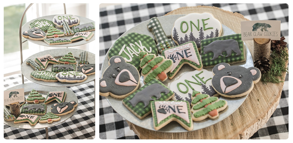 Wild One Bear ONE Cookies - One Wild Year - Boy's 1st Birthday Party - Ideas, inspiration, decor, party food and menu, kids activities and games, cake smash photo session, bear theme, wild one wilderness tree teepee outdoor theme, decorations, cake, cookies, and more!