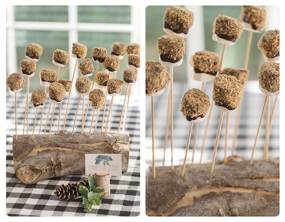 S'mores on Sticks Party Food - Wild One Smash Cake Photo Session - One Wild Year - Boy's 1st Birthday Party - Ideas, inspiration, decor, party food and menu, kids activities and games, cake smash photo session, bear theme, wild one wilderness tree teepee outdoor theme, decorations, cake, cookies, and more!