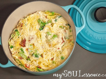 Whole30 Creamy Bacon Broccoli Spaghetti Casserole