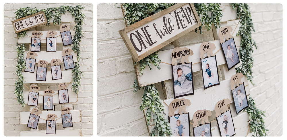 One Wild Year Monthly Photo Board 1st Birthday - Wild One Smash Cake Photo Session - One Wild Year - Boy's 1st Birthday Party - Ideas, inspiration, decor, party food and menu, kids activities and games, cake smash photo session, bear theme, wild one wilderness tree teepee outdoor theme, decorations, cake, cookies, and more!