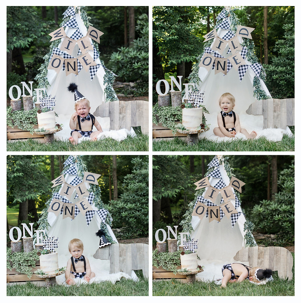 Wild One Smash Cake Photo Session - One Wild Year - Boy's 1st Birthday Party - Ideas, inspiration, decor, party food and menu, kids activities and games, cake smash photo session, bear theme, wild one wilderness tree teepee outdoor theme, decorations, cake, cookies, and more!