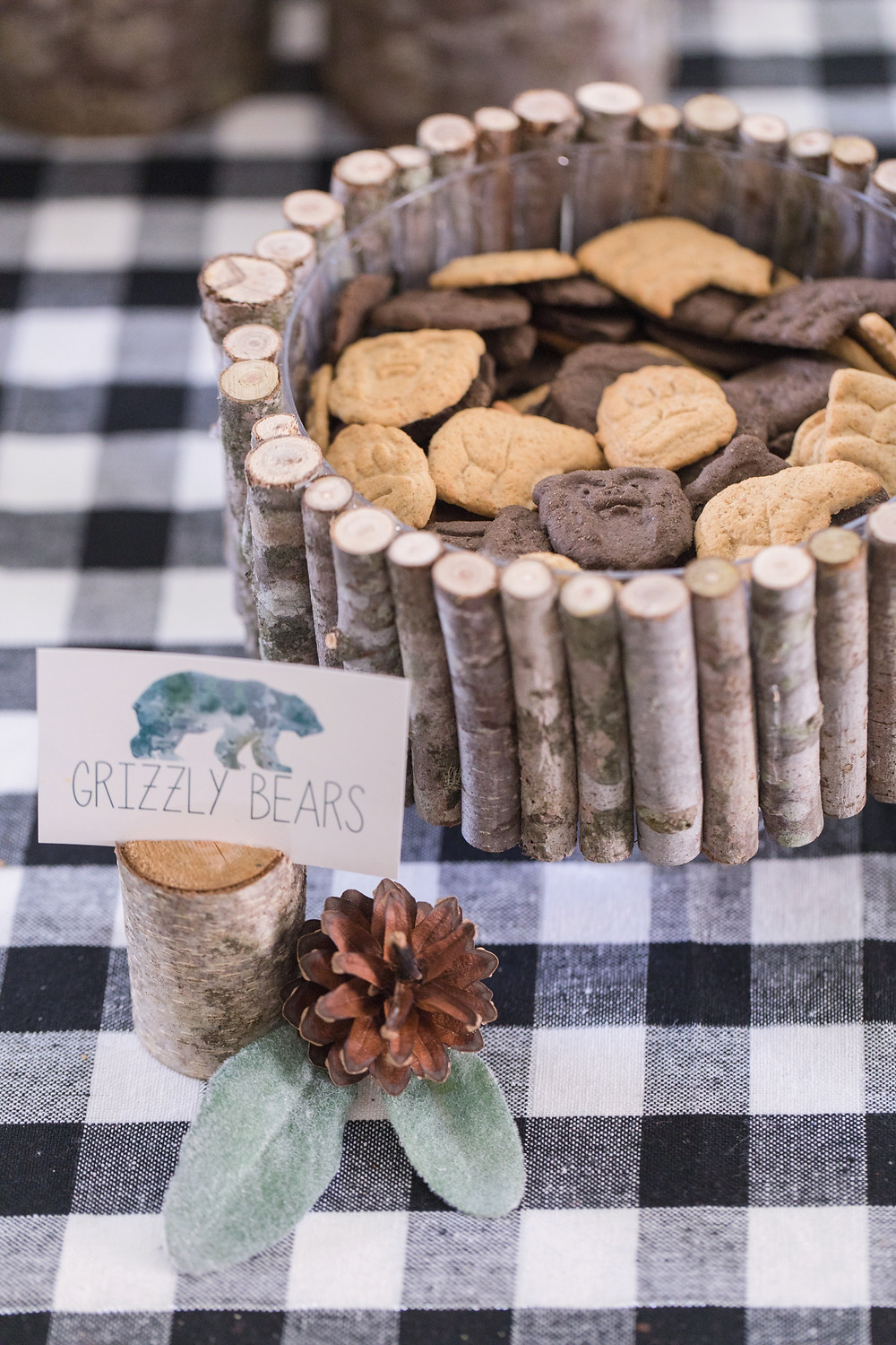 Grizzle Bears Kodiak Bears Party Food - Wild One Smash Cake Photo Session - One Wild Year - Boy's 1st Birthday Party - Ideas, inspiration, decor, party food and menu, kids activities and games, cake smash photo session, bear theme, wild one wilderness tree teepee outdoor theme, decorations, cake, cookies, and more!