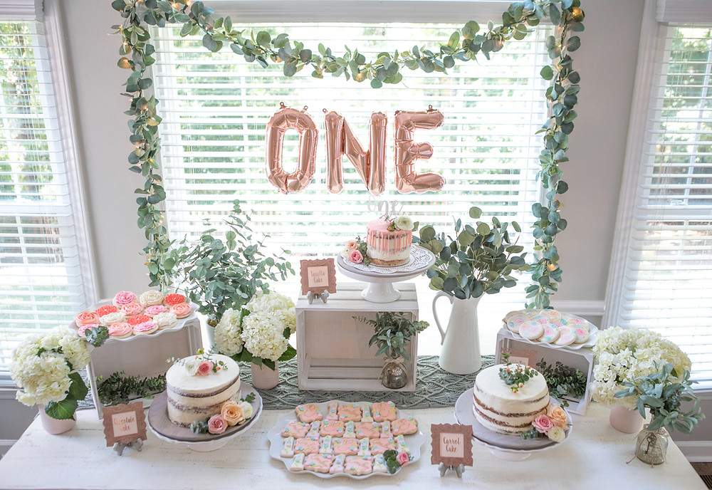 One-der-land Garden Party 1st Birthday Party - Ideas, floral boho decor and decoration ideas, food, cake, signs, monthly banner, and desserts for girl's 1st birthday party