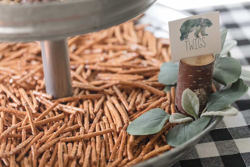 Twigs Pretzels Party Food - One Wild Year - Boy's 1st Birthday Party - Ideas, inspiration, decor, party food and menu, kids activities and games, cake smash photo session, bear theme, wild one wilderness theme, decorations, cake, cookies, and more!
