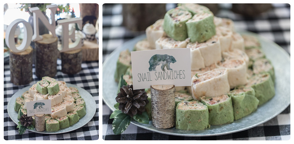 Snail Sandwiches Southwest Chicken Tortilla Wraps Party Food - One Wild Year - Boy's 1st Birthday Party - Ideas, inspiration, decor, party food and menu, kids activities and games, cake smash photo session, bear theme, wild one wilderness theme, decorations, cake, cookies, and more!