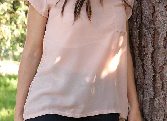 T-shirt transparente com brilhos rosa