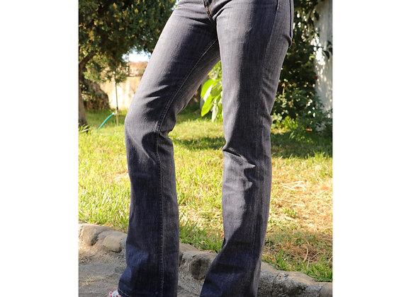 Calças flare cintura média
