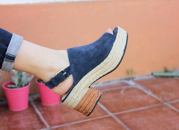 Sapatos cunha em juta