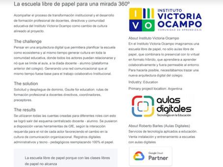Inst. Victoria Ocampo Caso de éxito de Google desarrollado por Aulas Digitales ante Google Cloud.