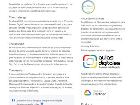 Escuela La Obra de la ciudad de Buenos Aires Caso de éxito de Google.