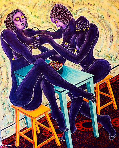 Lovers Sharing Spaghetti  2021 120x100 cm., Acrylic and Oil pastels on canvas.jpg