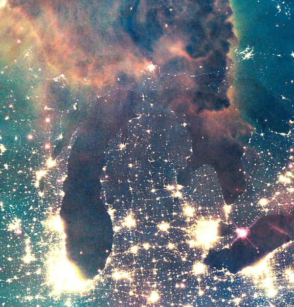 Northern Lights Michigan Map Print
