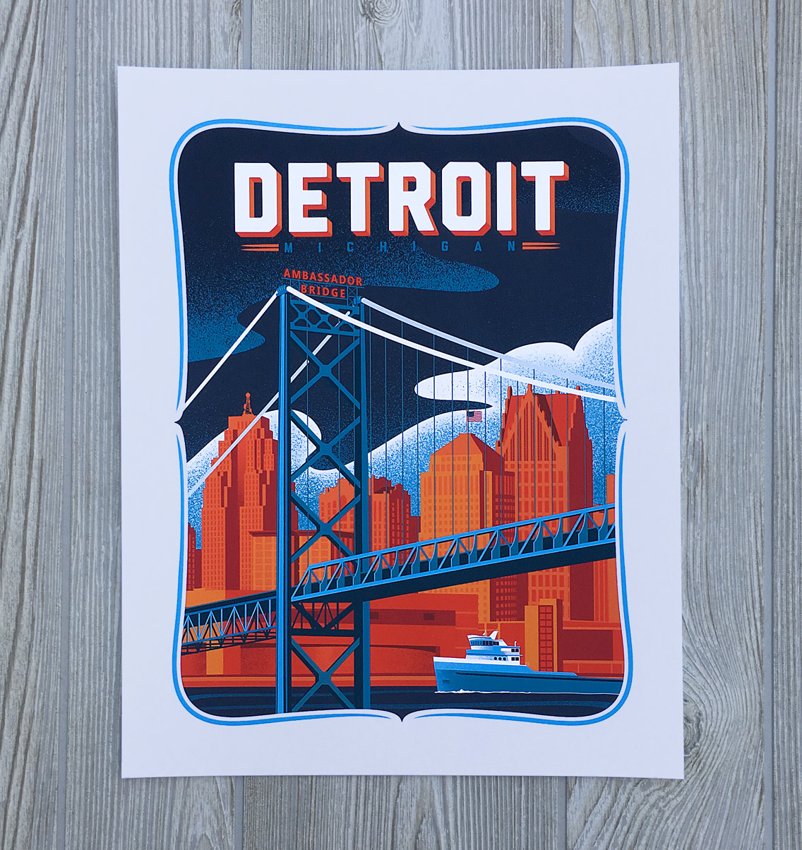Detroit Skyline Art Print