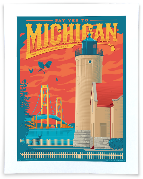 Say Yes to Michigan! - Vintage-Style Travel Art Print