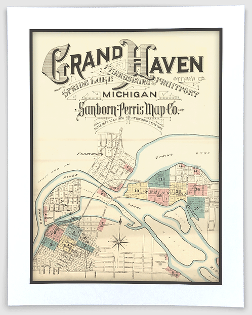 Grand Haven 1892 Sanborn-Perris Insurance Map Art Poster Print