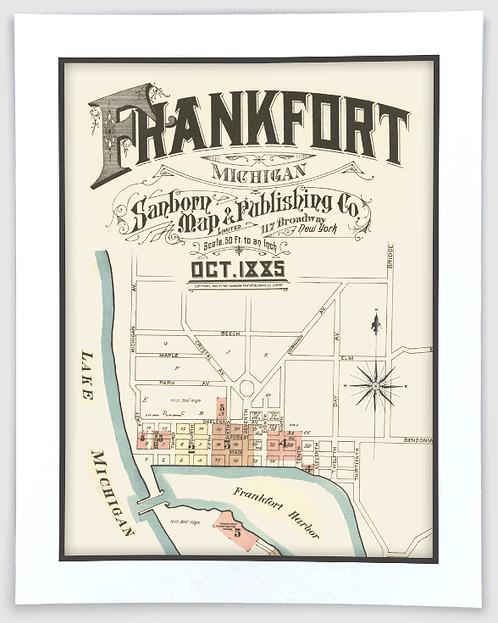 Frankfort 1885 Sanborn Insurance Map Art Poster Print