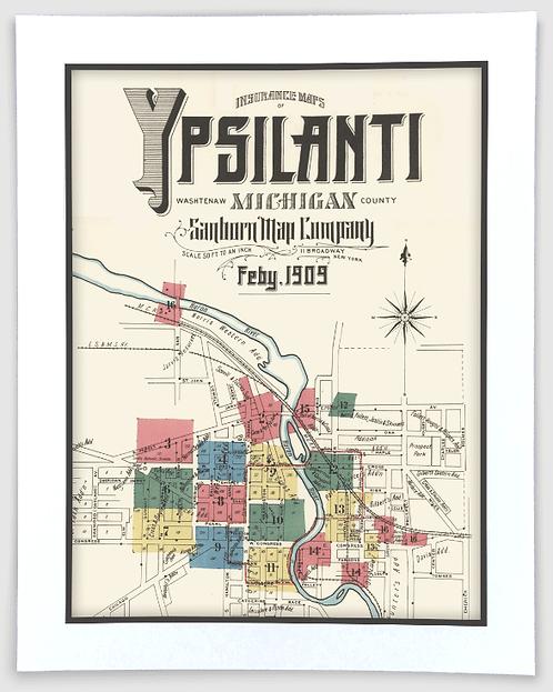 Ypsilanti 1909 Sanborn-Perris Insurance Map Art Poster Print