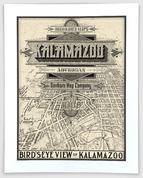 Kalamazoo Bird's Eye View - 1908 Sanborn Insurance Map Art Poster Print