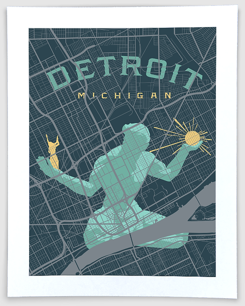 Detroit Block Map #2 - Michigan Art Print