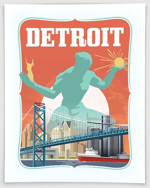 Spirit of Detroit - Michigan Travel Art Print