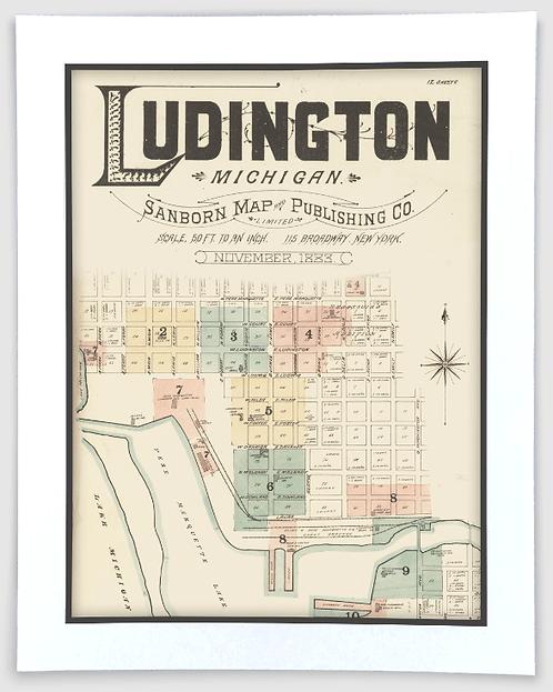Ludington 1883 Sanborn Insurance Map Art Poster Print