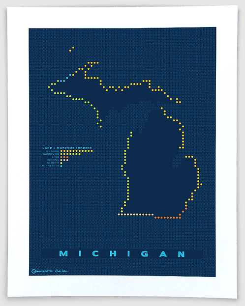 Border Map - Michigan Map Art Print