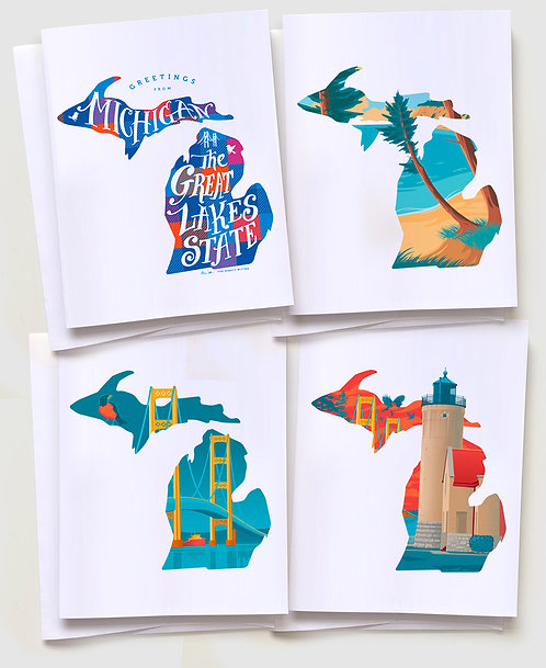 "Michigan Greeting Card ""State Pack"" (4 Cards)"