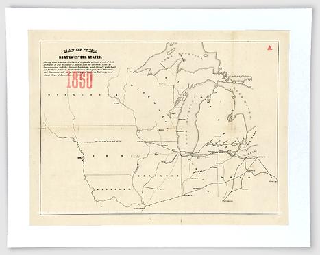 Railroad Map - Great Lakes Art Print