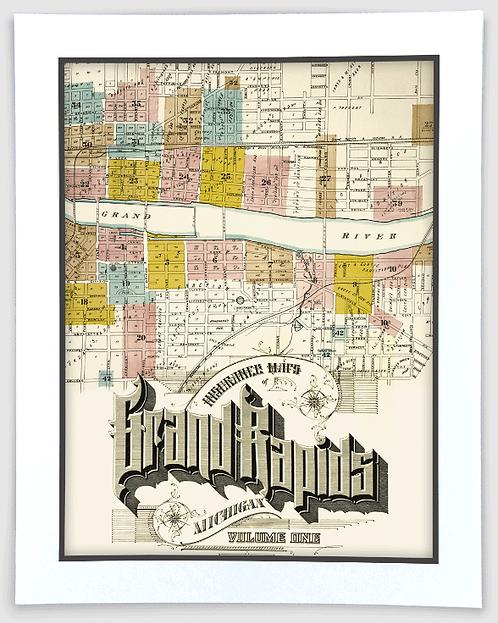 Grand Rapids Sanborn Insurance Map Art Poster Print