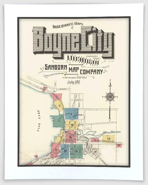 Boyne City 1911 Sanborn Insurance Map Art Poster Print