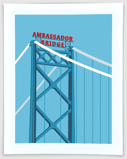 Ambassador Bridge - Detroit, Michigan Travel Art Print