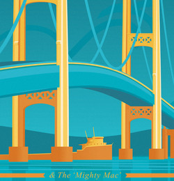 Mackinac Bridge Travel Poster
