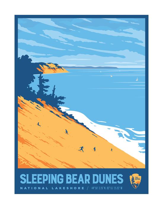 National parks-style travel poster of Sleeping Bear Dunes National Lakeshore