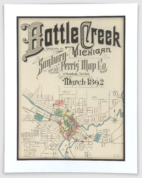 Battle Creek 1892 Sanborn-Perris Insurance Map Art Poster Print
