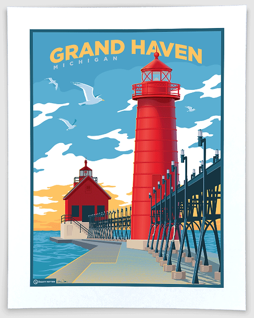 Grand Haven - Michigan Travel Art Print