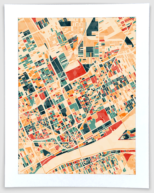 Detroit Block Map #1 - Michigan Art Print