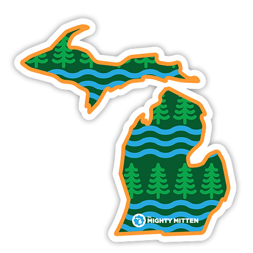 "Wooded Waves - Michigan Sticker - 3x3"" + 4x4"" Michigan Stickers"