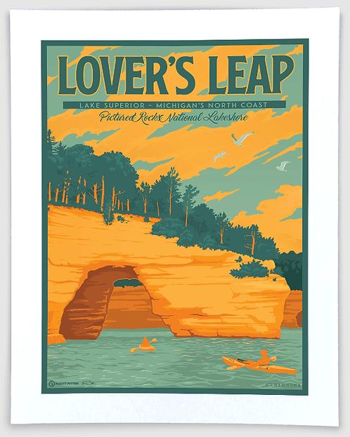Pictured Rocks (Lover's Leap) - Michigan Travel Art Print