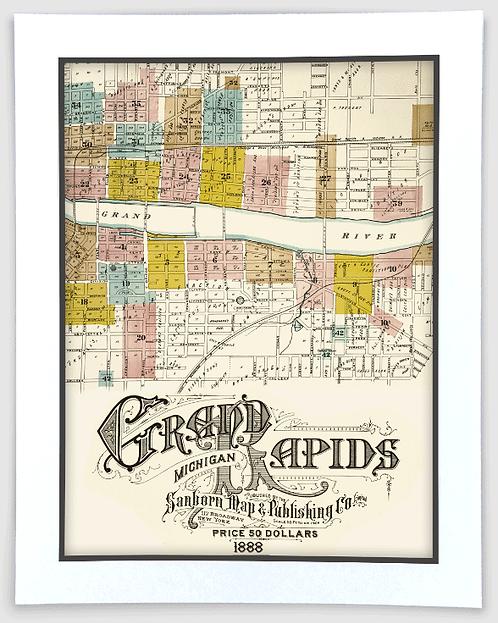 Grand Rapids 1888 Sanborn Insurance Map Art Poster Print