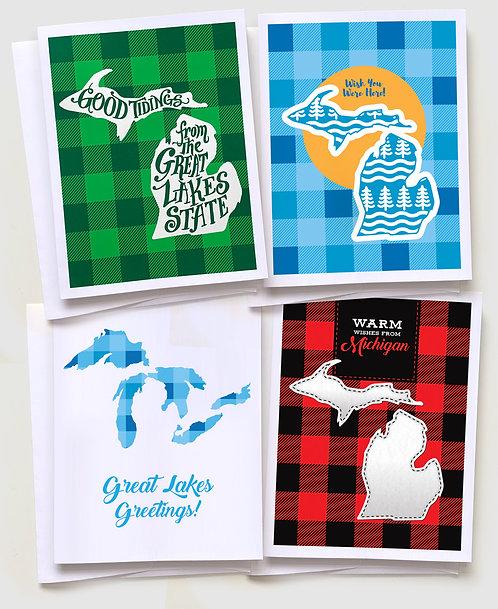 "Michigan Greeting Card ""Plaid Pack"" (4 Cards)"