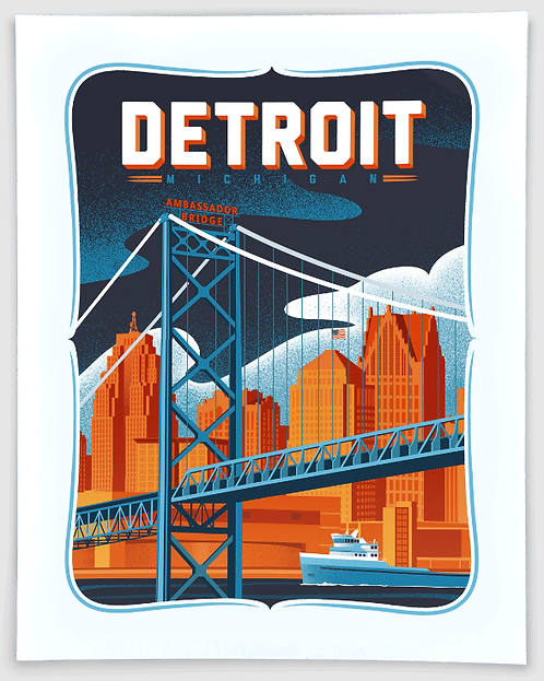 Detroit Skyline - Michigan Travel Art Print