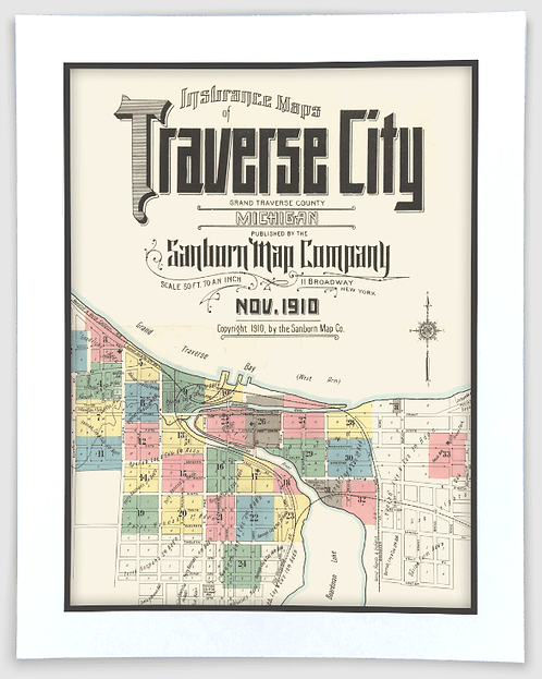 Traverse City 1910 Sanborn Insurance Map Art Poster Print