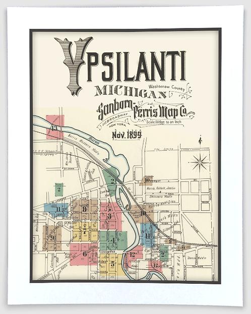 Ypsilanti 1899 Sanborn-Perris Insurance Map Art Poster Print