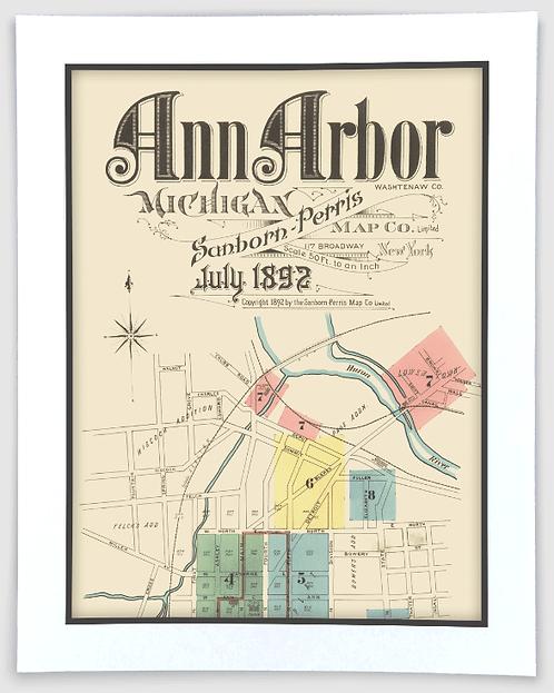 Ann Arbor 1892 Sanborn-Perris Insurance Map Art Poster Print