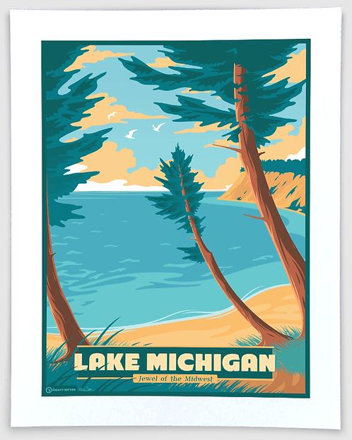Lake Michigan - Vintage-Style Travel Art Print