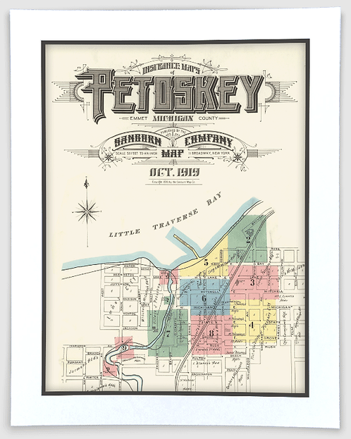 Petoskey 1919 Sanborn Insurance Map Art Poster Print