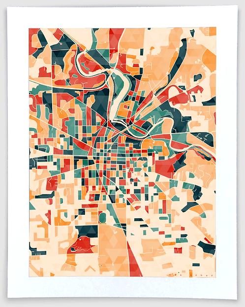 Ann Arbor Block Map - Michigan Art Print